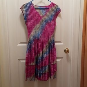 Brightly colored stretch material dress
